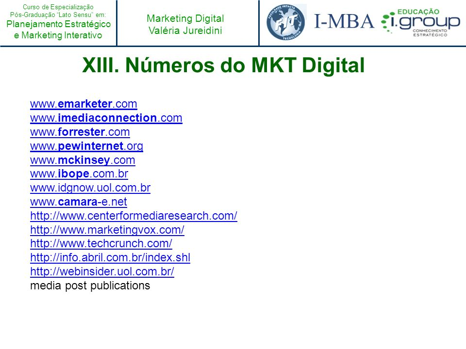XIII. Números do MKT Digital
