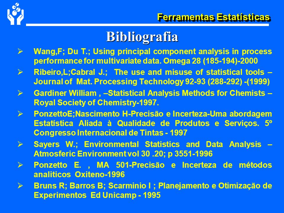 Bibliografia Wang,F; Du T.; Using principal component analysis in process performance for multivariate data. Omega 28 ( )