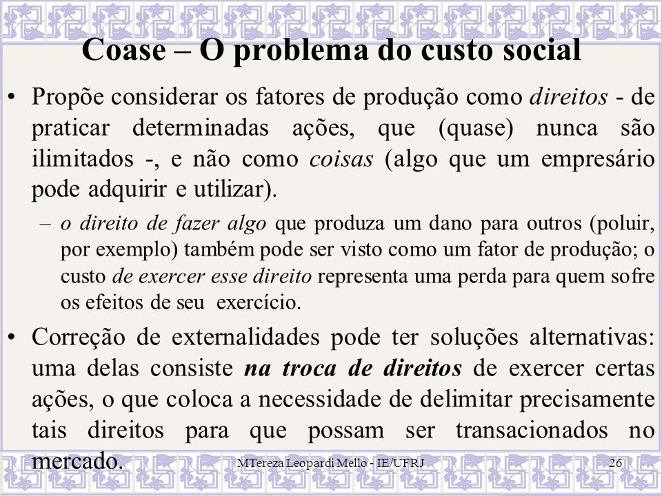 Coase – O problema do custo social