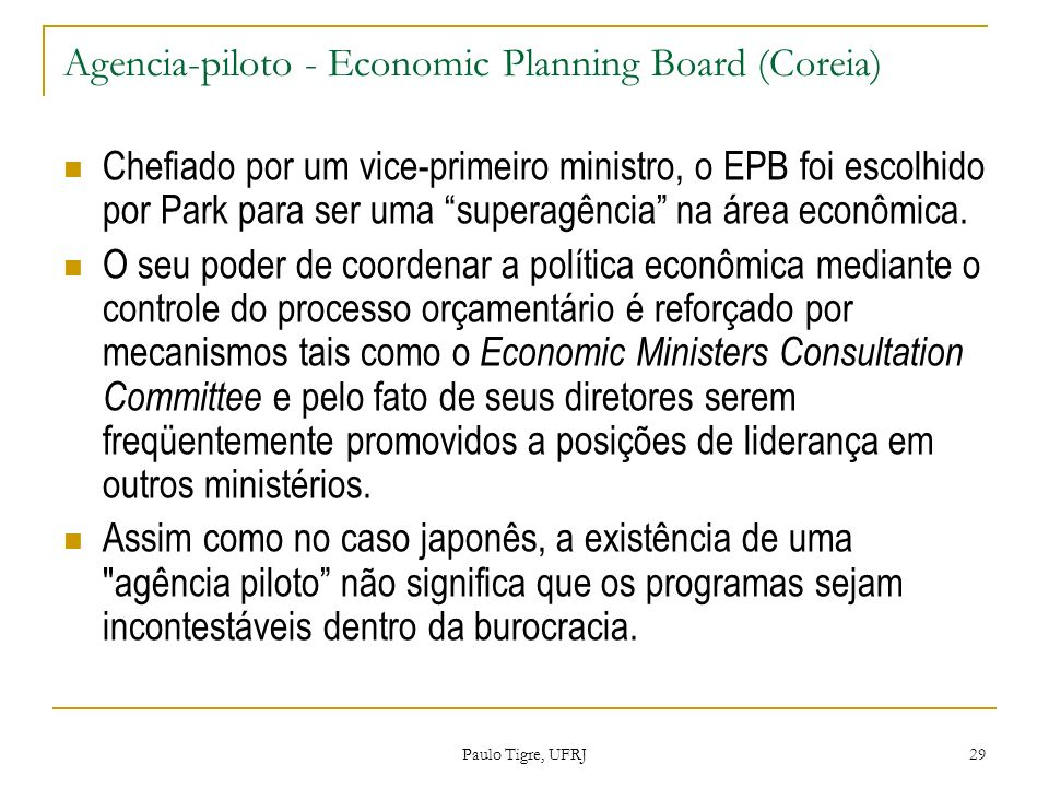 Agencia-piloto - Economic Planning Board (Coreia)