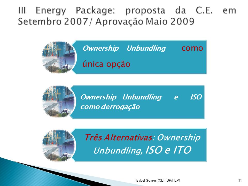 Três Alternativas: Ownership Unbundling, ISO e ITO