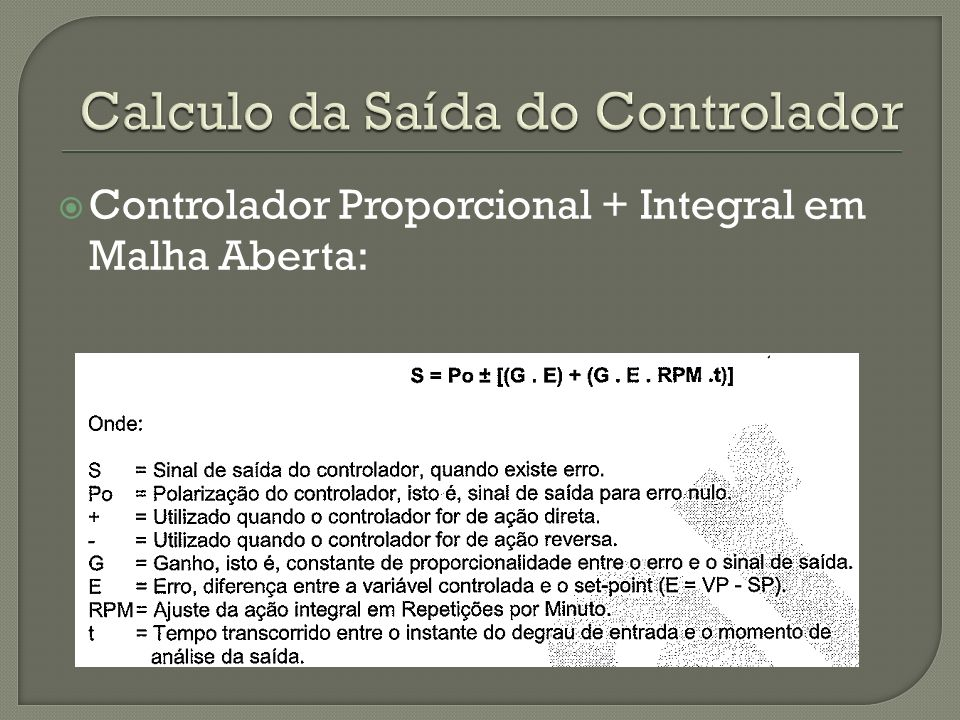 Calculo da Saída do Controlador