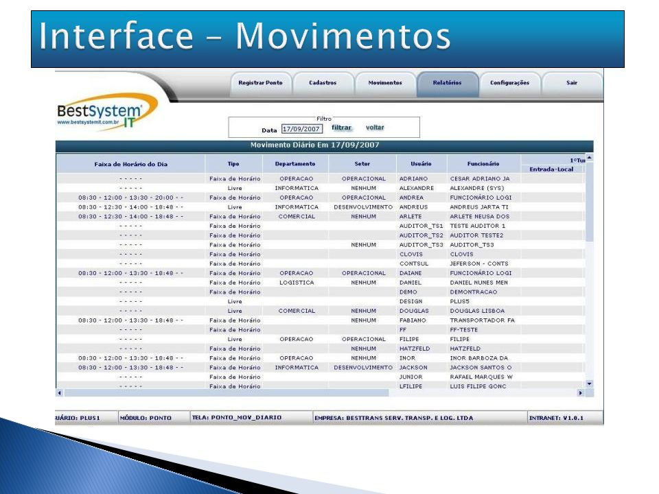 Interface – Movimentos