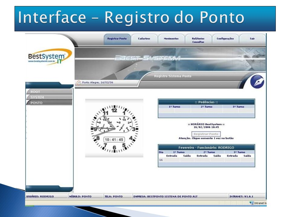Interface – Registro do Ponto
