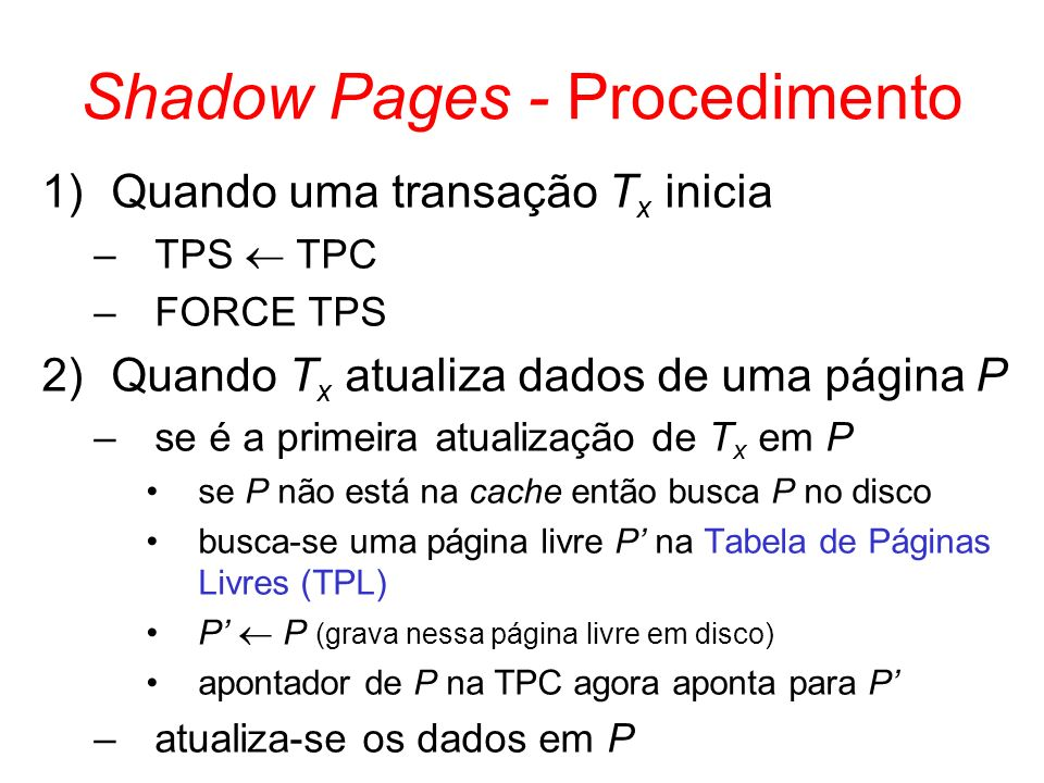Shadow Pages - Procedimento