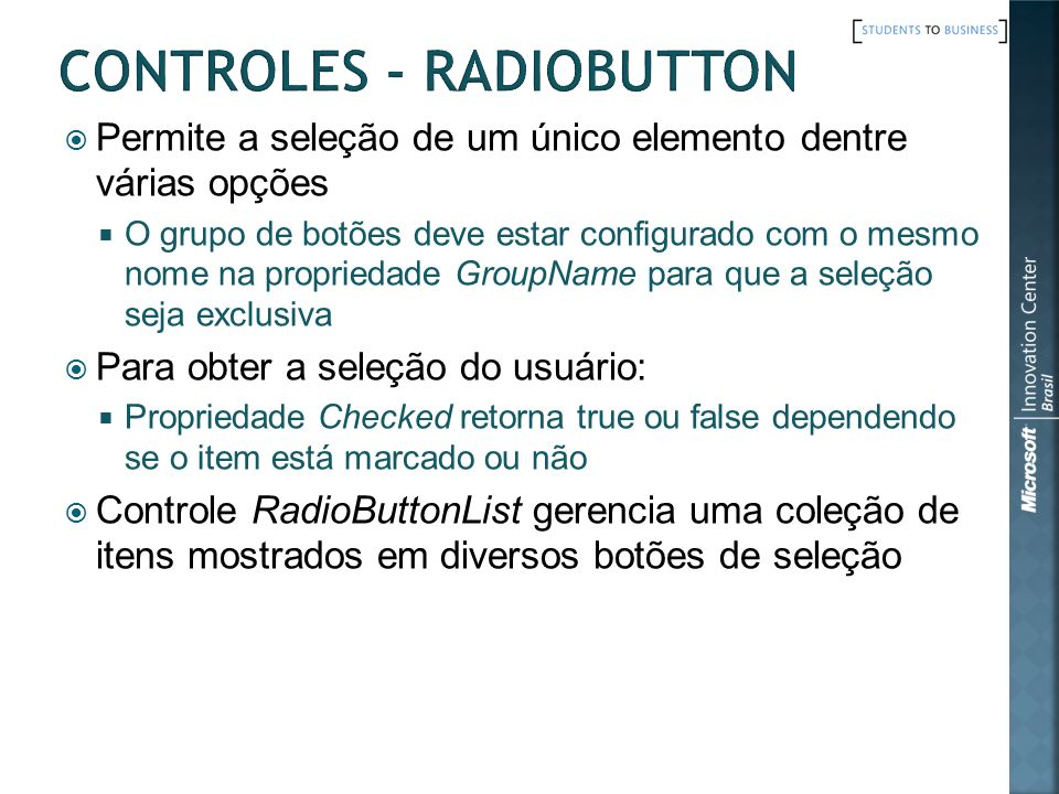 Controles - RadioButton