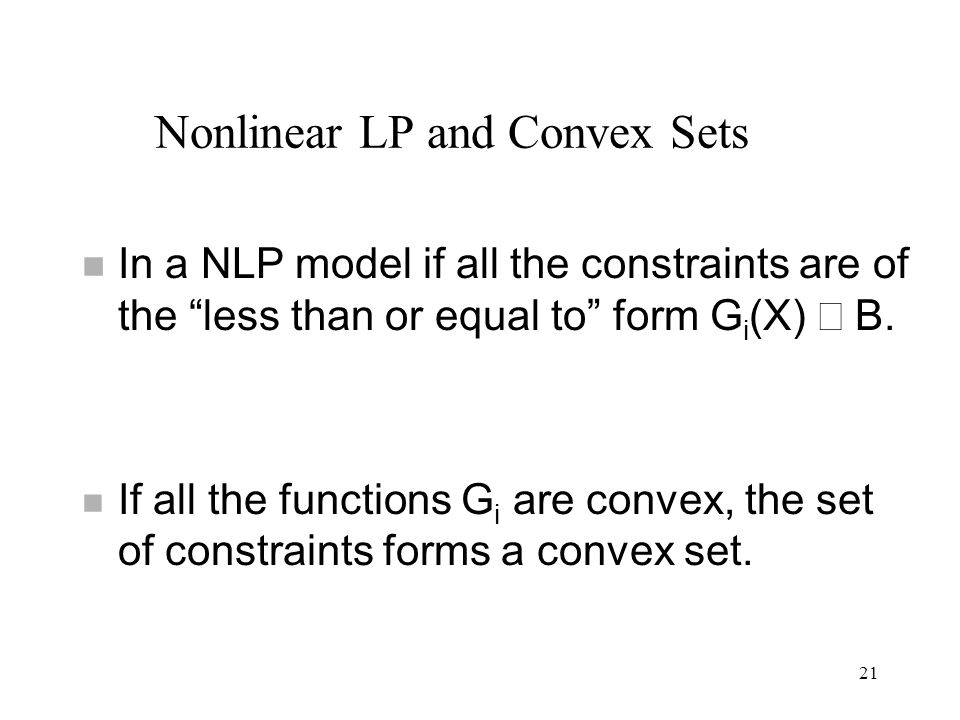 Nonlinear LP and Convex Sets