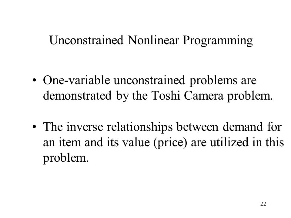Unconstrained Nonlinear Programming