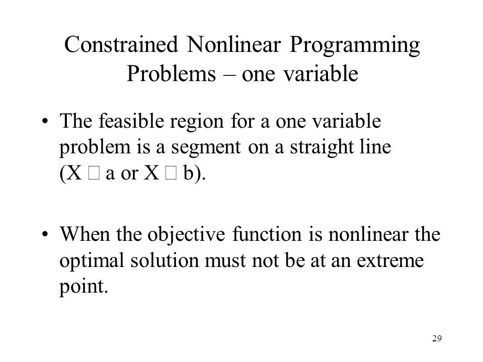 Constrained Nonlinear Programming Problems – one variable