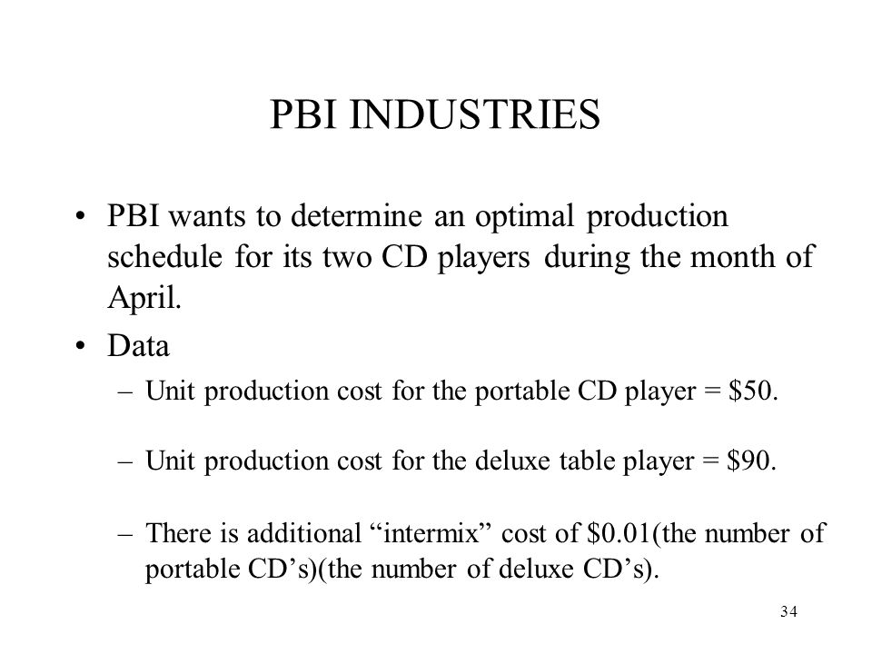 PBI INDUSTRIES PBI wants to determine an optimal production schedule for its two CD players during the month of April.