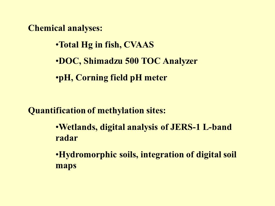 Chemical analyses: Total Hg in fish, CVAAS. DOC, Shimadzu 500 TOC Analyzer. pH, Corning field pH meter.