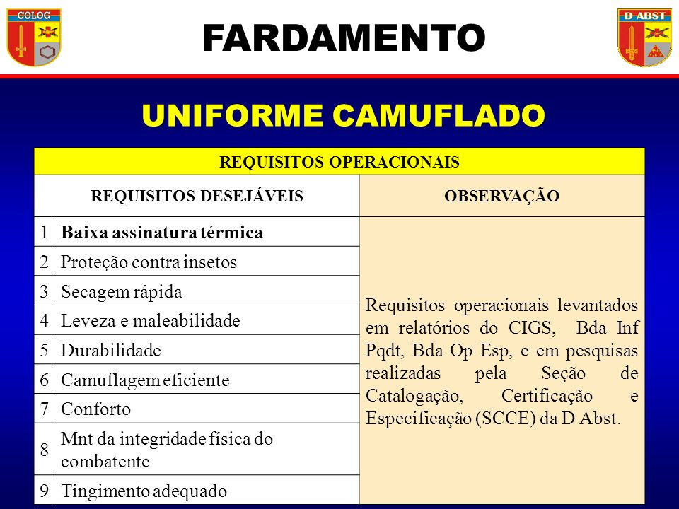 REQUISITOS OPERACIONAIS REQUISITOS DESEJÁVEIS