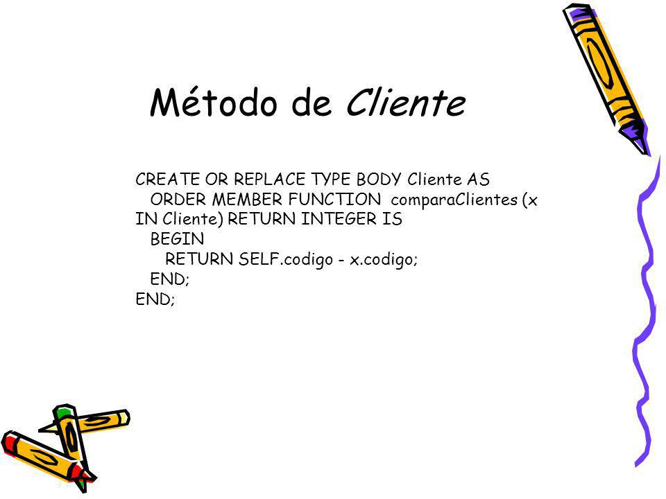 Método de Cliente CREATE OR REPLACE TYPE BODY Cliente AS