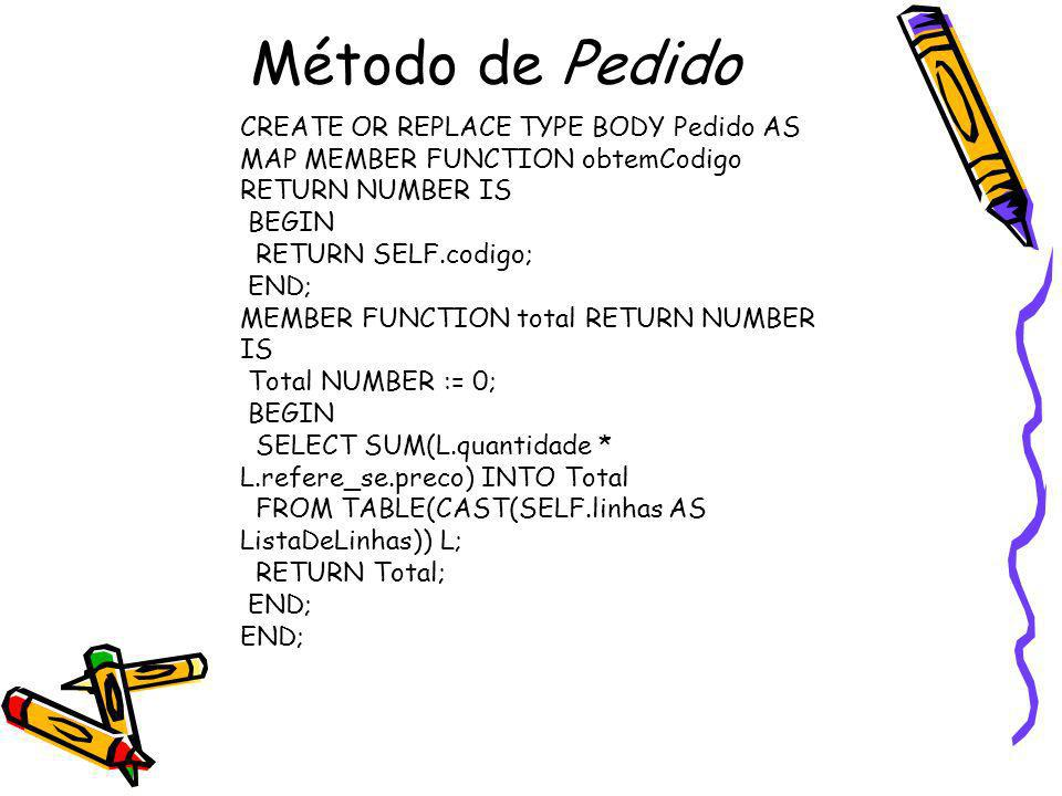 Método de Pedido CREATE OR REPLACE TYPE BODY Pedido AS