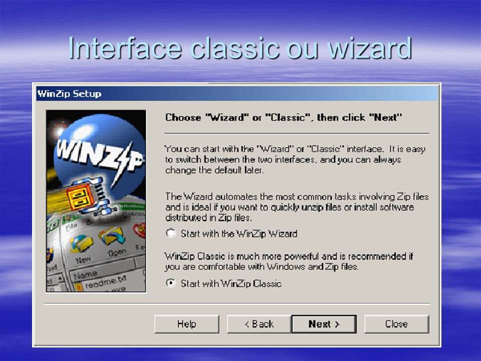 Interface classic ou wizard