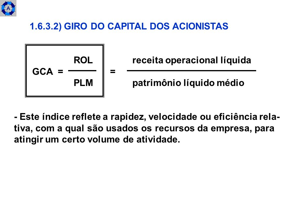 ) GIRO DO CAPITAL DOS ACIONISTAS