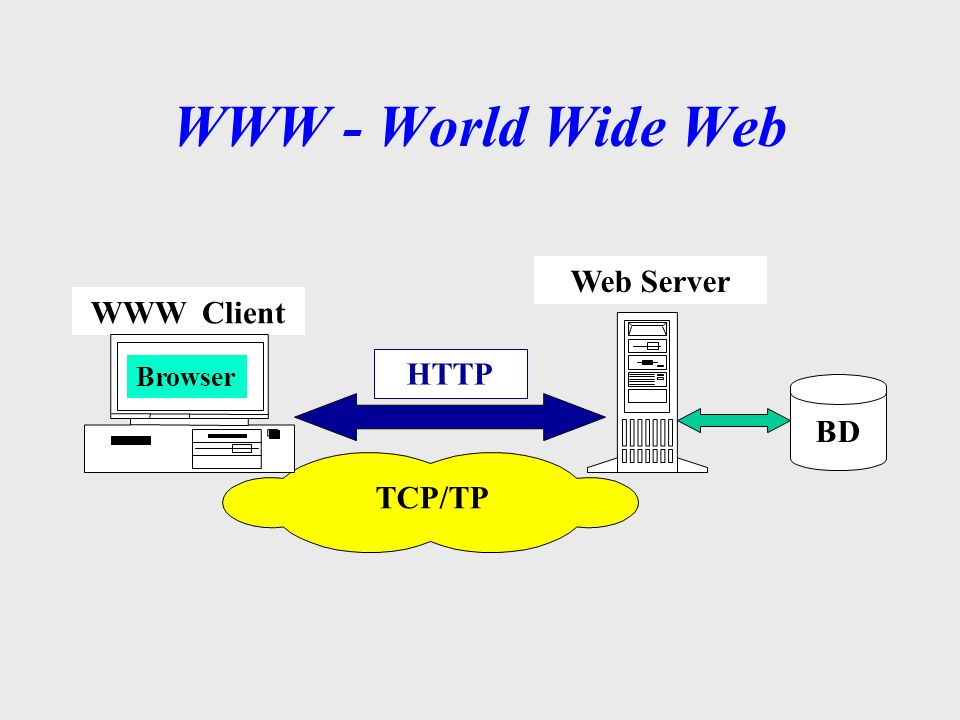 WWW - World Wide Web Web Server WWW Client Browser HTTP BD TCP/TP