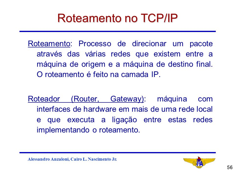 Roteamento no TCP/IP