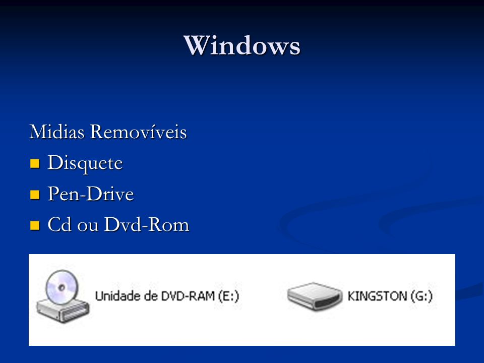 Windows Midias Removíveis Disquete Pen-Drive Cd ou Dvd-Rom