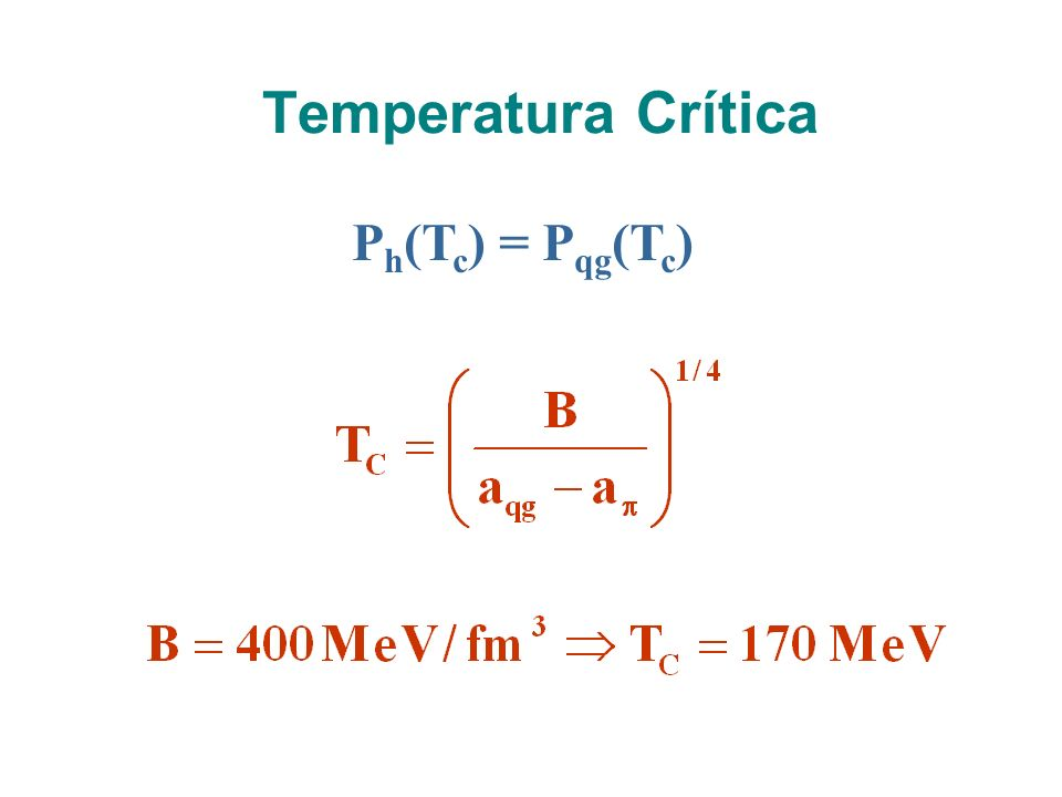 Temperatura Crítica Ph(Tc) = Pqg(Tc)