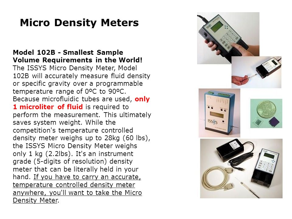 Micro Density Meters Model 102B - Smallest Sample Volume Requirements in the World!
