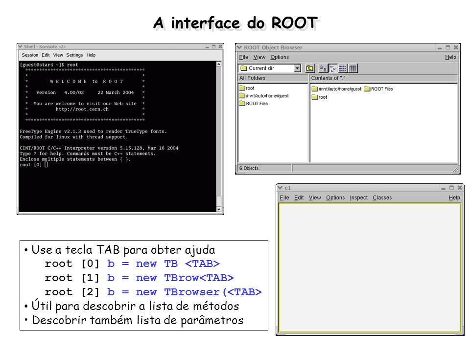 A interface do ROOT Use a tecla TAB para obter ajuda