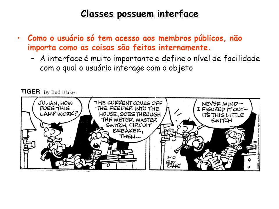 Classes possuem interface