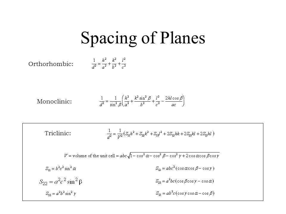 Spacing of Planes Orthorhombic: Monoclinic: Triclinic: