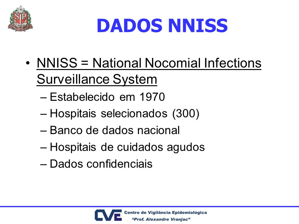 DADOS NNISS NNISS = National Nocomial Infections Surveillance System