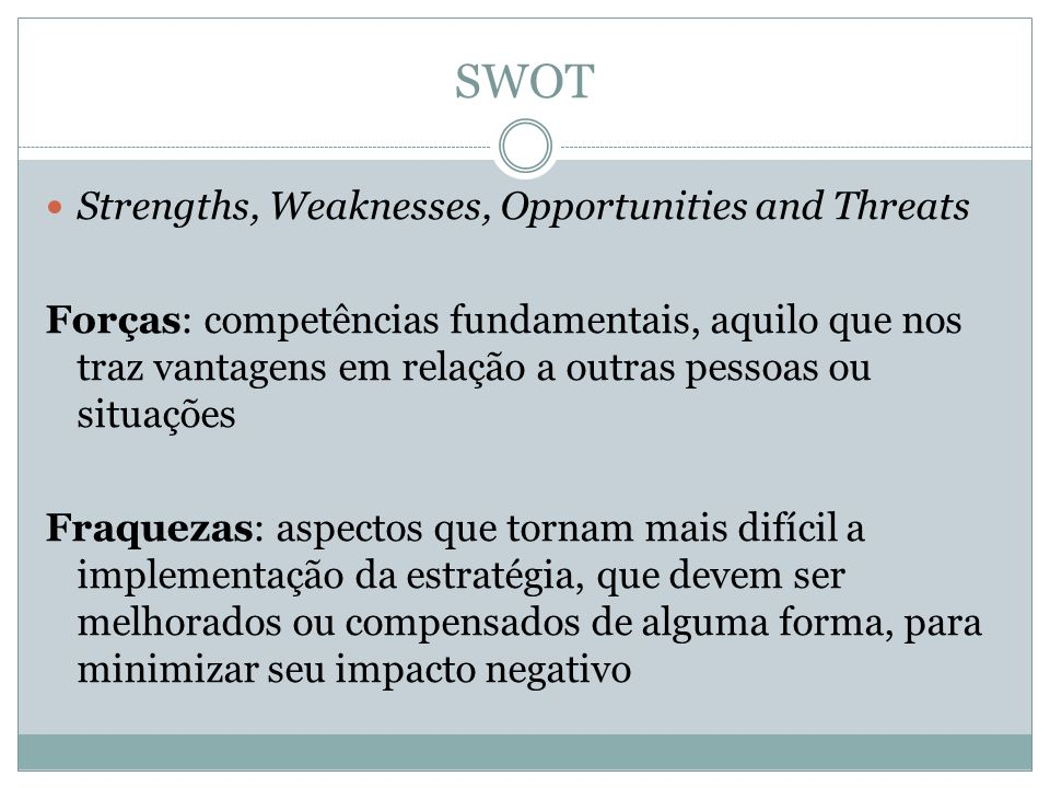 SWOT Strengths, Weaknesses, Opportunities and Threats