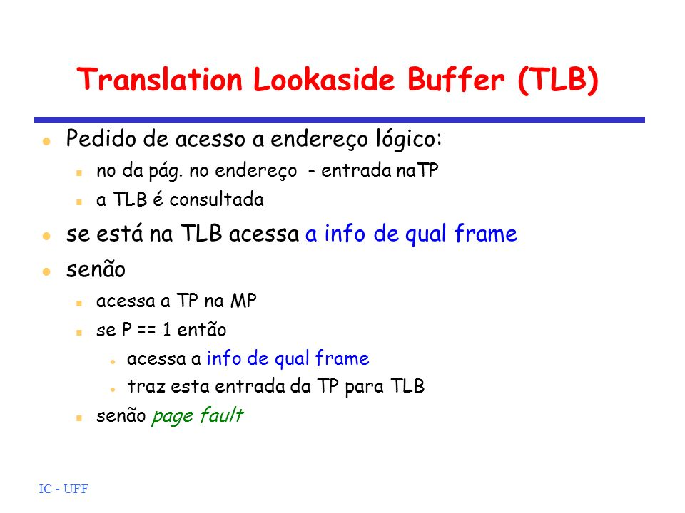 Translation Lookaside Buffer (TLB)‏