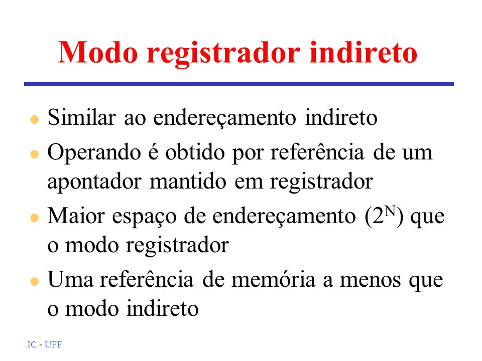 Modo registrador indireto