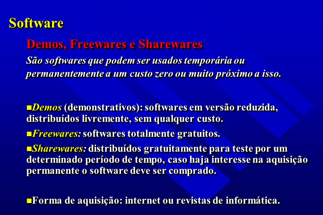 Software Demos, Freewares e Sharewares