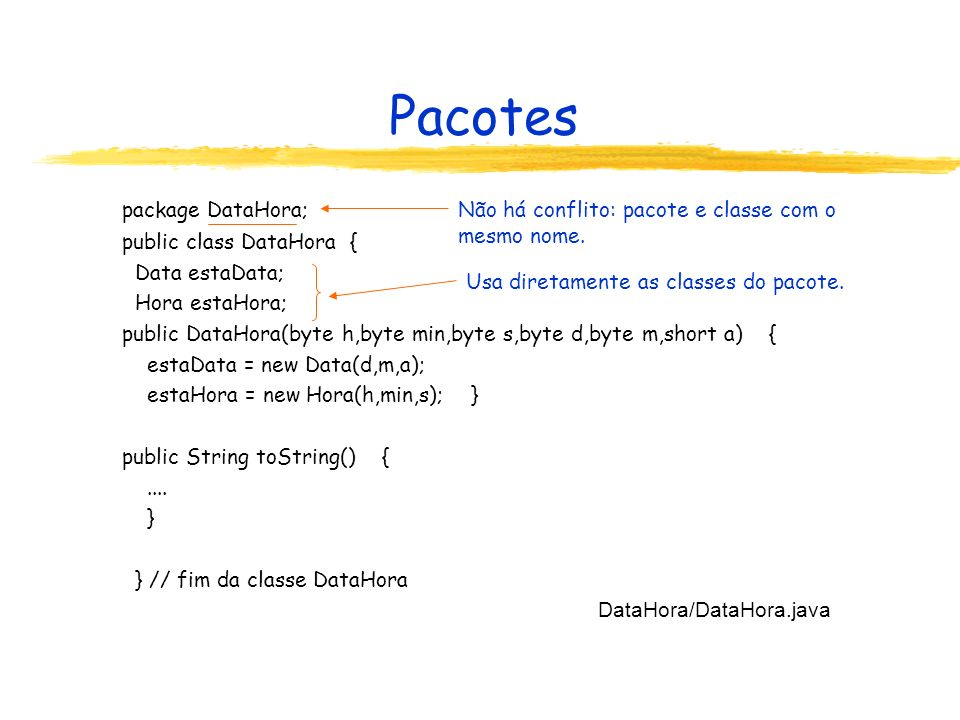 Pacotes package DataHora; public class DataHora { Data estaData;