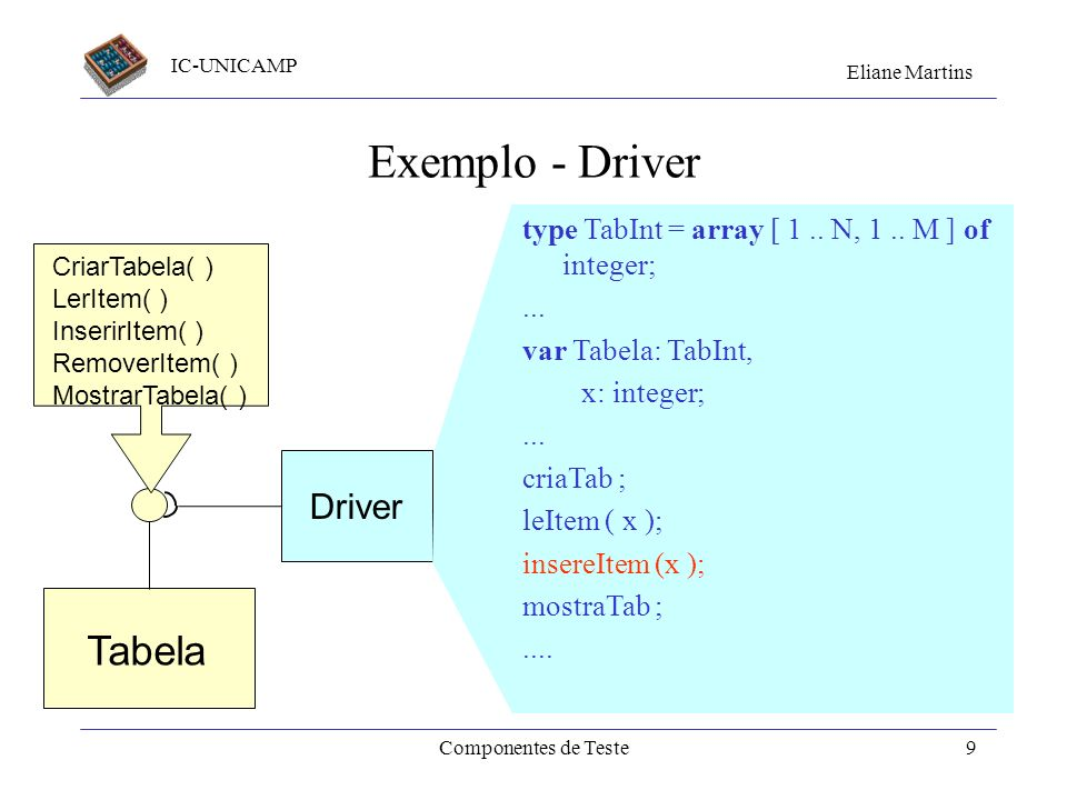 Exemplo - Driver Tabela Driver