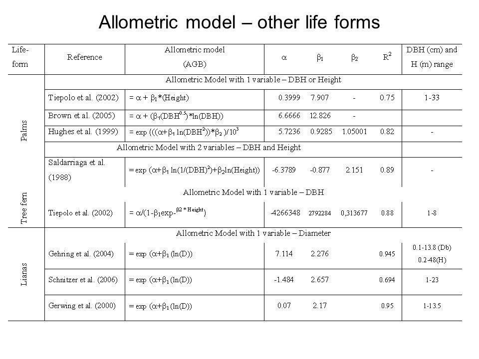 Allometric model – other life forms