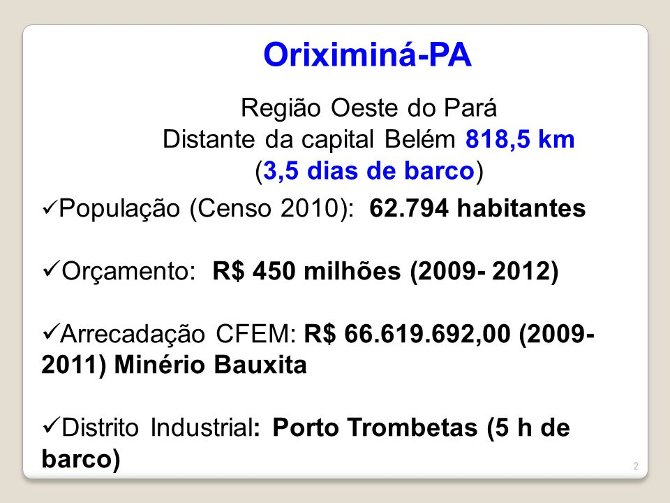 Distante da capital Belém 818,5 km