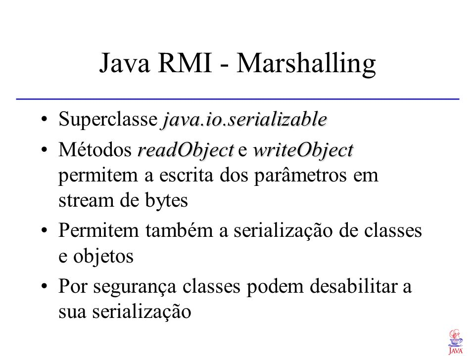 Java RMI - Marshalling Superclasse java.io.serializable