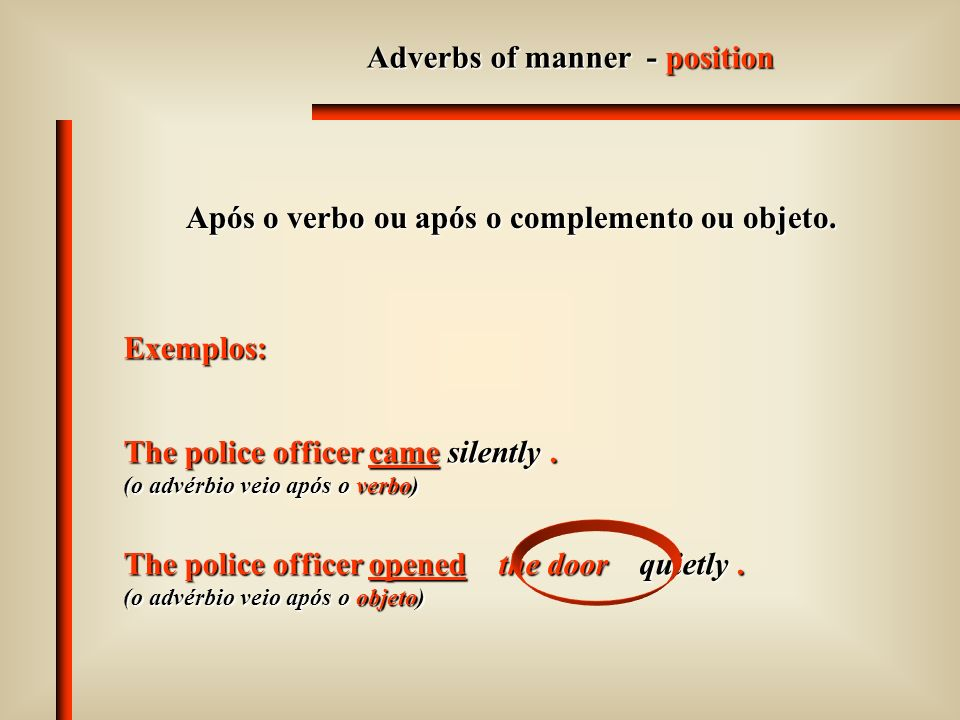 Adverbs of manner - position