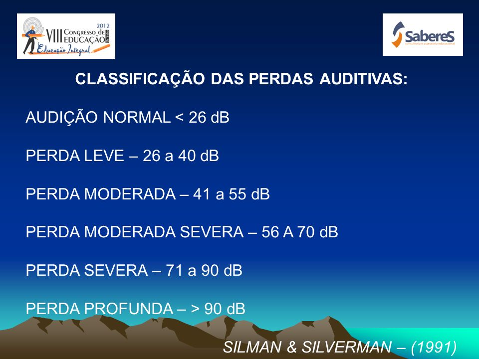 CLASSIFICAÇÃO DAS PERDAS AUDITIVAS: