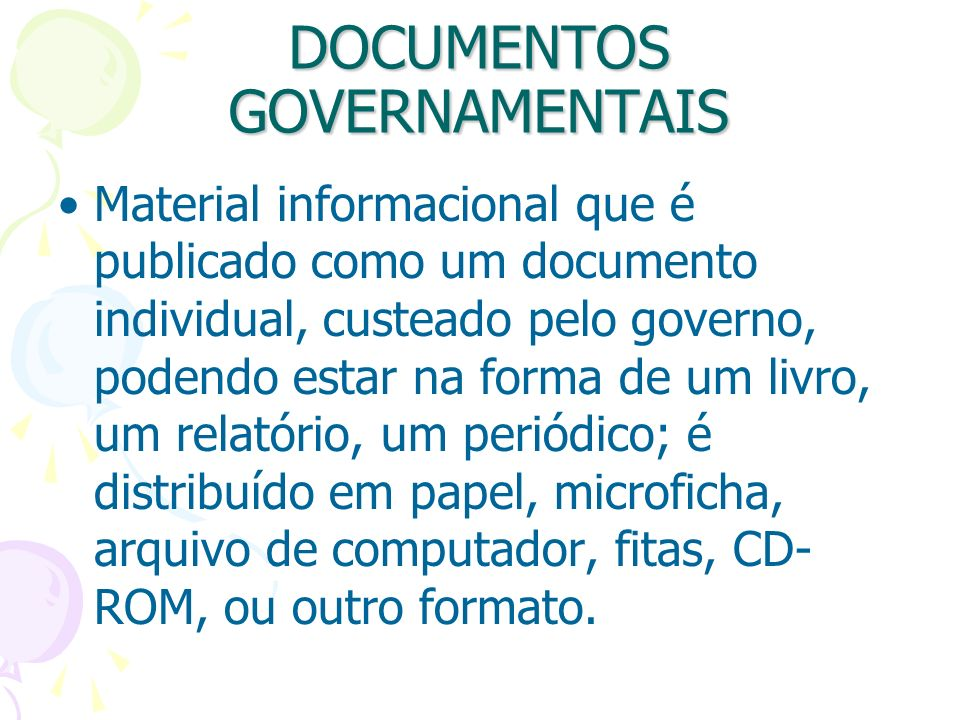DOCUMENTOS GOVERNAMENTAIS