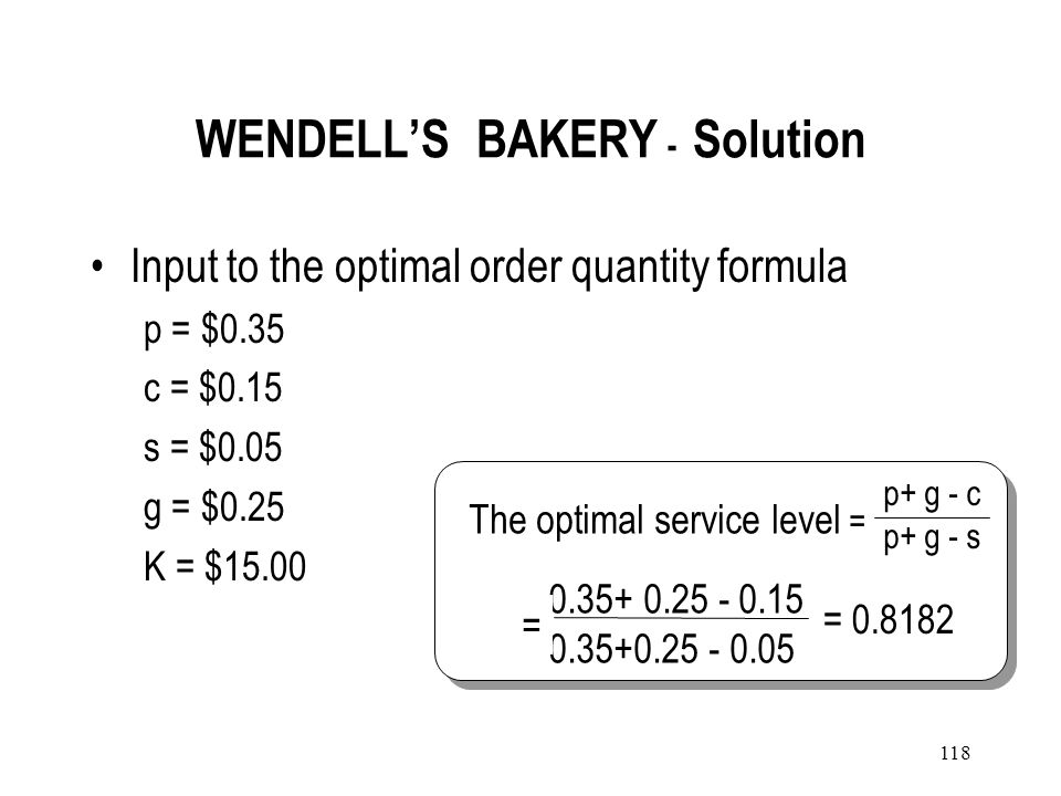 WENDELL'S BAKERY - Solution
