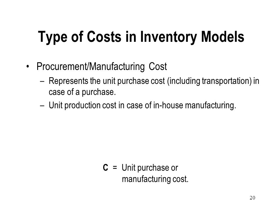 Type of Costs in Inventory Models