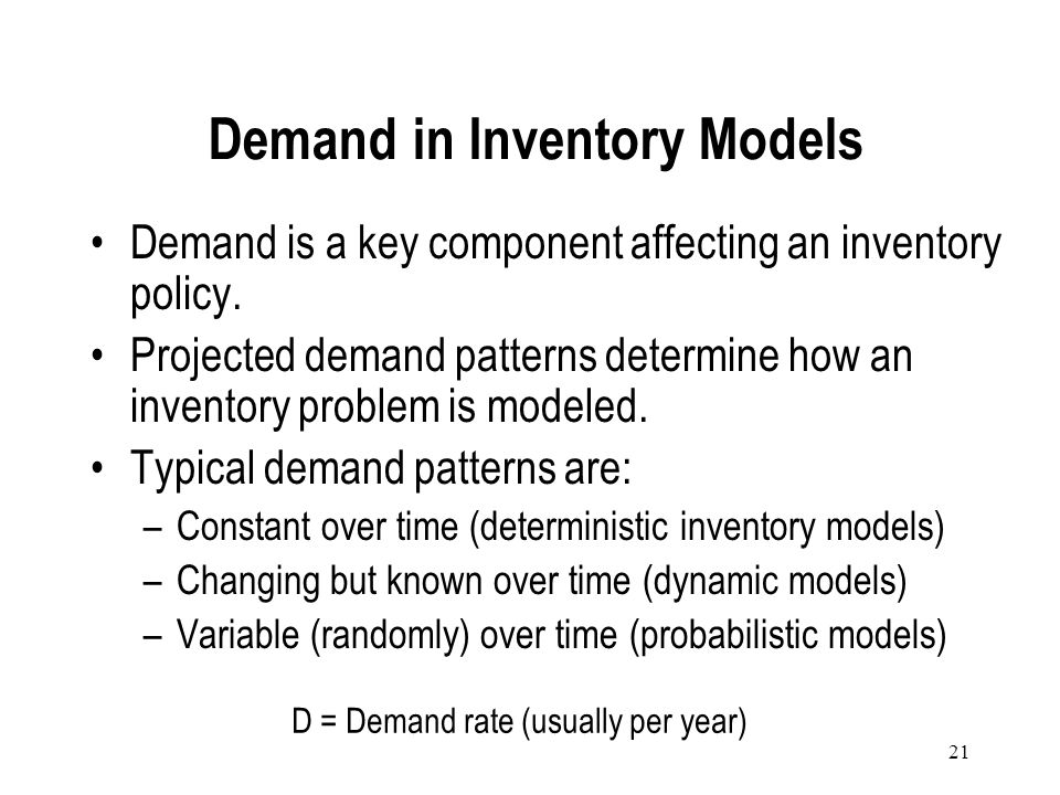 Demand in Inventory Models