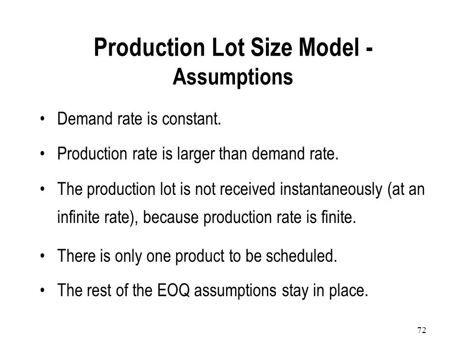 Production Lot Size Model - Assumptions