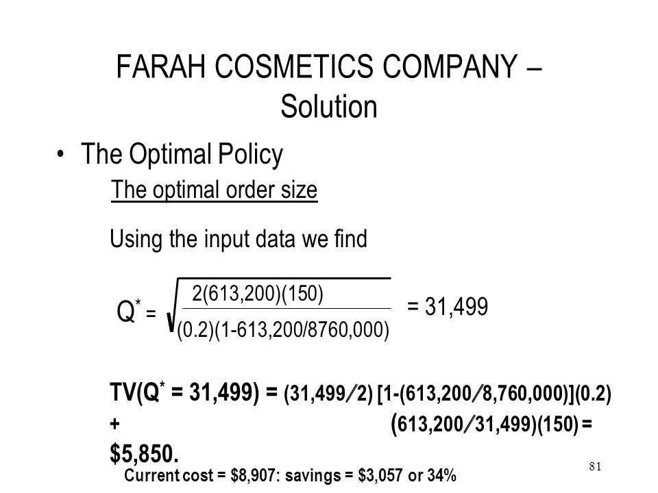 FARAH COSMETICS COMPANY – Solution