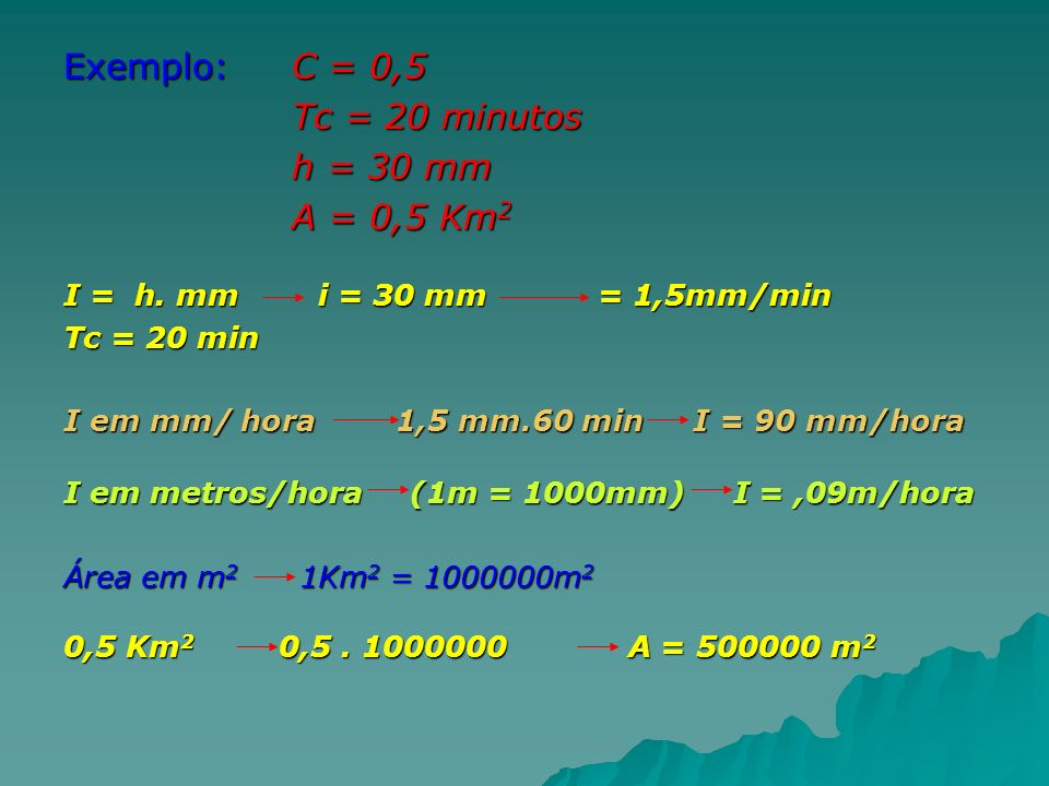 Exemplo: C = 0,5 Tc = 20 minutos h = 30 mm A = 0,5 Km2