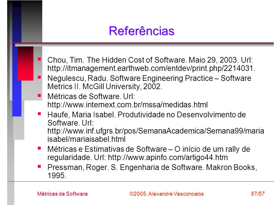 Referências Chou, Tim. The Hidden Cost of Software. Maio 29, Url: