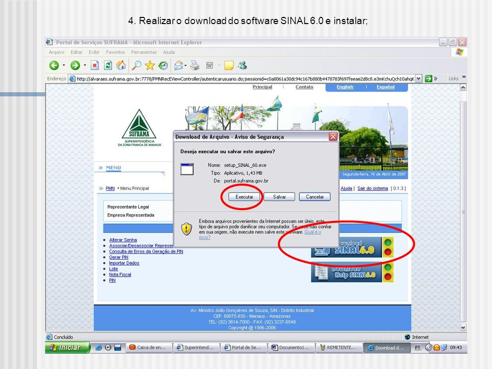 4. Realizar o download do software SINAL 6.0 e instalar;
