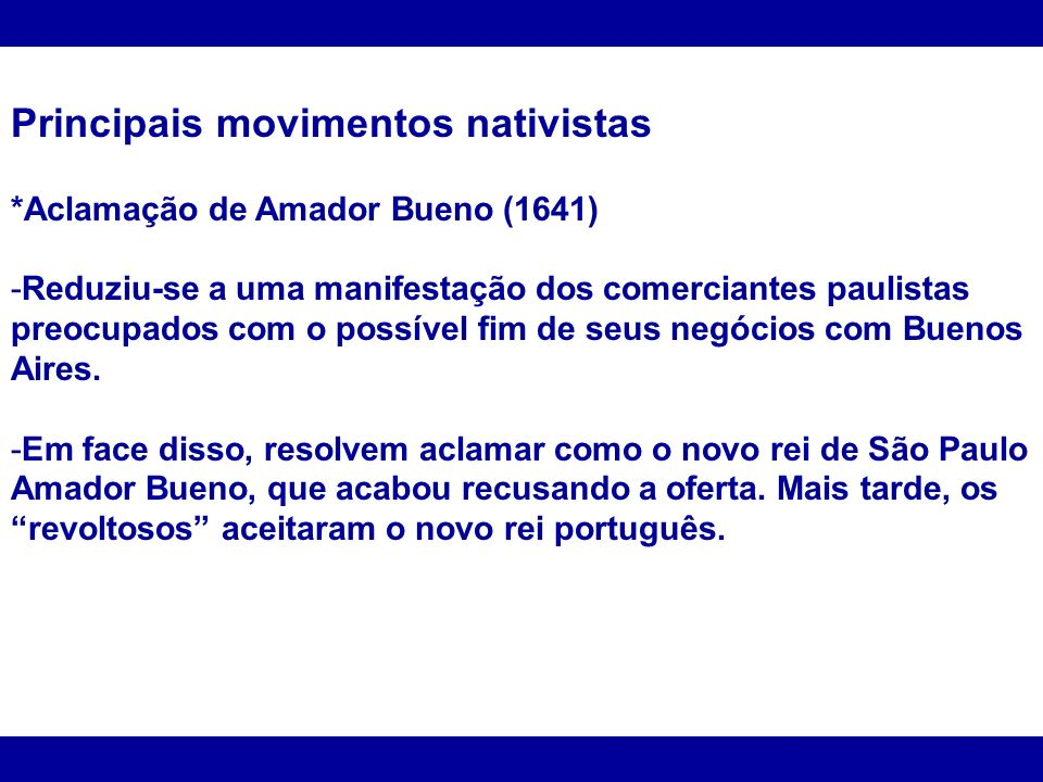 Principais movimentos nativistas